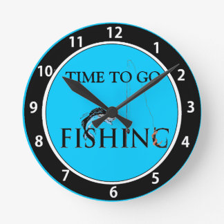 Time to go fishing wall clock