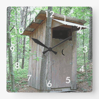 TIME TO GO! OUTHOUSE WALL CLOCK IN THE WOODS