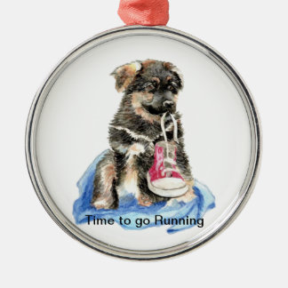 Time to go Running Motivation Quote Cute Dog Christmas Ornament