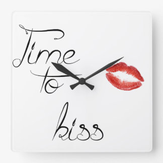 Time to kiss square wall clock