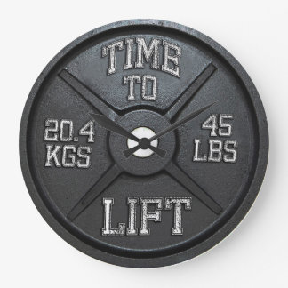 Time To Lift - Barbell Plate Wall Clock