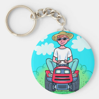 TIme to Mow Basic Round Button Key Ring