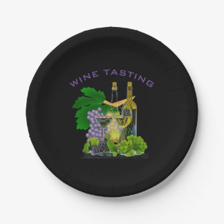 Time to Party - Wine Tasting Paper Plate 7 Inch Paper Plate