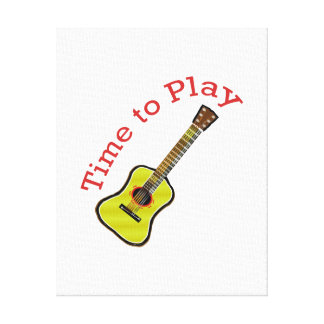 Time to Play Acoustic Guitar - Choose Background Stretched Canvas Print