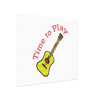 Time to Play Acoustic Guitar - Choose Background Gallery Wrapped Canvas