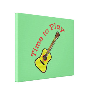 Time to Play Acoustic Guitar - Green Background Canvas Prints