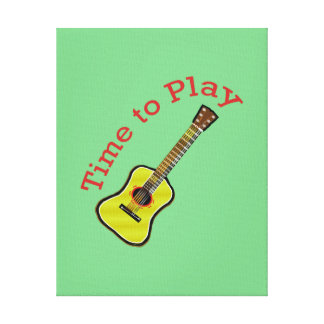 Time to Play Acoustic Guitar - Green Background Gallery Wrapped Canvas