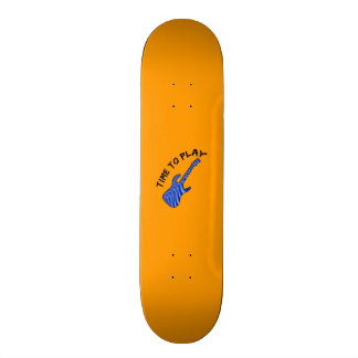 Time To Play Electric Guitar - Orange Background Skateboard