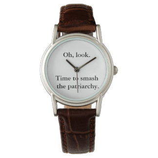 Time to Smash the Patriarchy Watch, Silver/Brown Watch