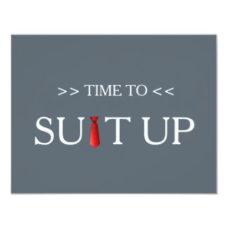Time to Suitup Black Chalk Board Red Tie 11 Cm X 14 Cm Invitation Card
