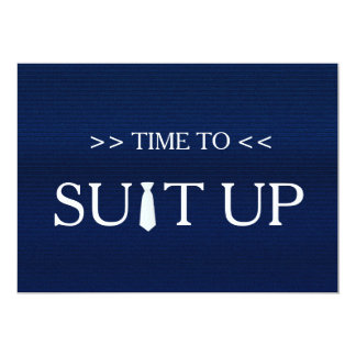 Time to Suitup Blue White Tie 13 Cm X 18 Cm Invitation Card