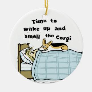 Time To Wake Up And Smell The Corgi Christmas Ornament