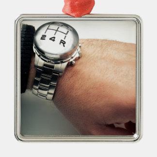Time traveler Silver-Colored square decoration