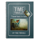 Time traveller shabby blue chest personalised notebook