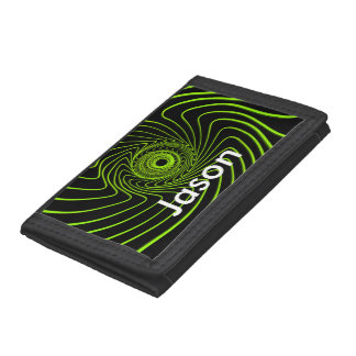 Time Traveller wallet, neon green swirl and name Trifold Wallet