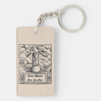 """""""Time Waits For No One"""" Personalized Double-Sided Rectangular Acrylic Key Ring"""