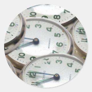 Time Zone Pocket Watch Classic Round Sticker