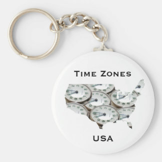 Time Zone Pocket Watch Key Ring