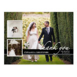 Timeless Chic Three Photo Wedding Thank You Postcards