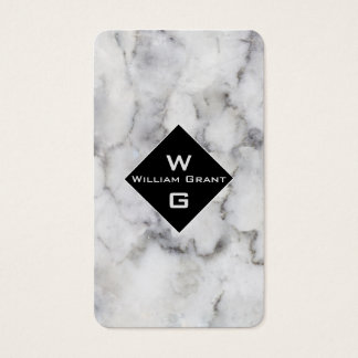 Timeless Classic White Marble Monogram on Square Business Card