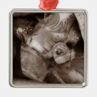 Timeless Cowboy Boot Silver-Colored Square Decoration