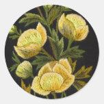Timeless Globeflowers Round Sticker