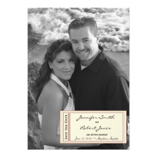 Timeless Ticket Save the Date card Custom Invitations