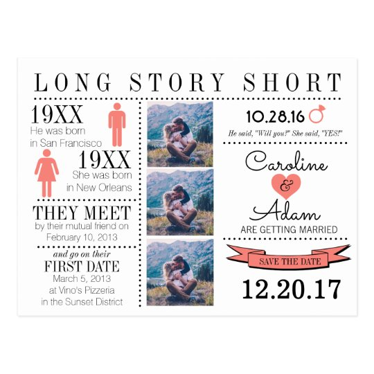 Timeline In Coral Save The Date Post Card