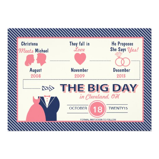 Timeline Of Love Save The Date Card