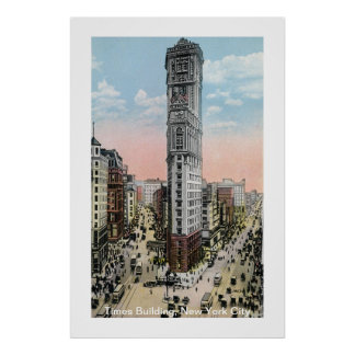Times Building New York City Vintage Poster