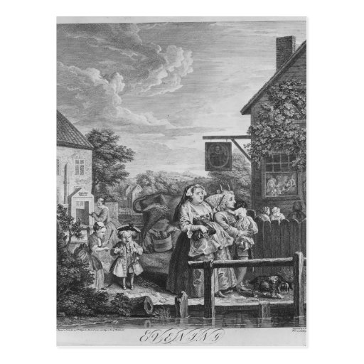 Times of the Day, Evening, 1738 Post Card