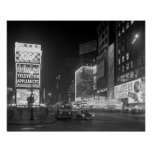 Times Square at Night, 1953. Vintage Photo Poster