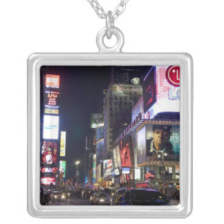 Times Square at night in Manhattan, New York Square Pendant Necklace