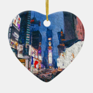 Times Square at Night Painting Ceramic Heart Decoration