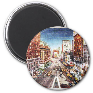 Times Square at Nigth Vintage Print 6 Cm Round Magnet