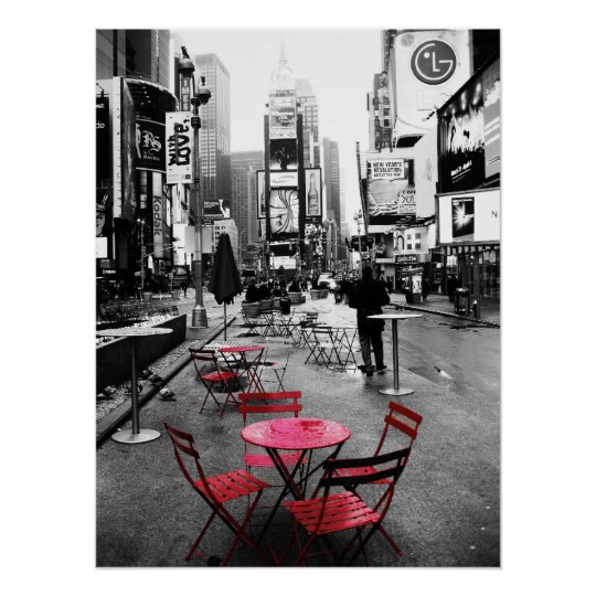 Times Square Black White Red Poster