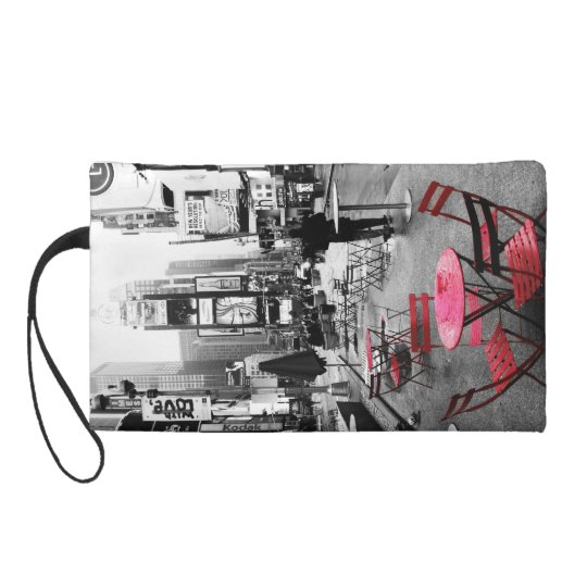 Times Square Black White Red Wristlets