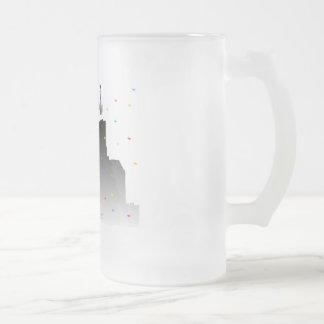 times square frosted glass mug