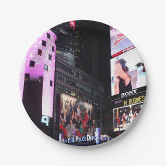 Times Square in New York City (pink) Paper Plate