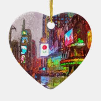 Times Square Lights Ceramic Heart Decoration