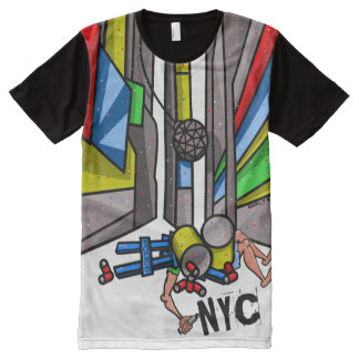Times Square New York City Funny Cartoon All-Over Print T-Shirt