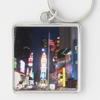 """Times Square, New York City, USA""  CricketDiane A Silver-Colored Square Key Ring"