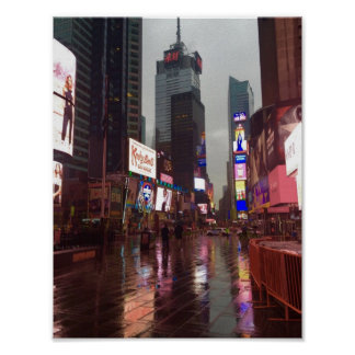 Times Square NYC New York City Rainy Day Poster