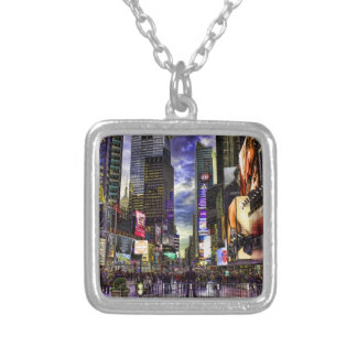 Times Square Photo in HDR Square Pendant Necklace