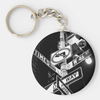 Times Square road signs in black and white Basic Round Button Key Ring