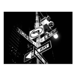 Times Square road signs in black and white Postcard