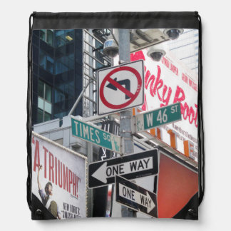 Times Square Signs Drawstring Backpack