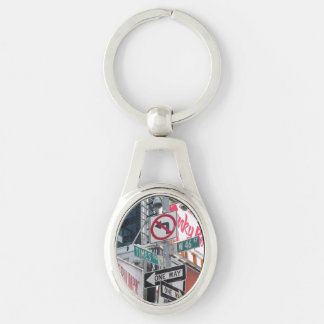 Times Square Signs Silver-Colored Oval Key Ring