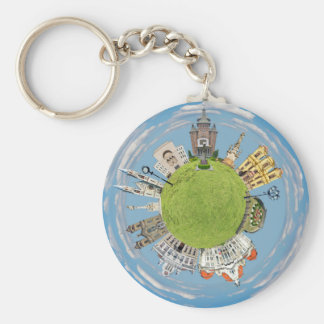 timisoara city romania tiny little planet landmark key ring