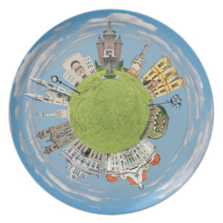 timisoara city romania tiny little planet landmark plate